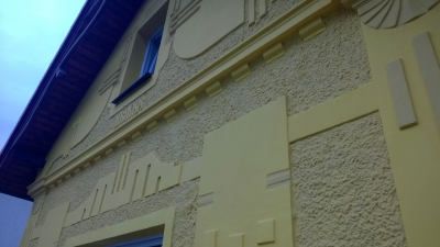 Restoration of historic Art Nouveau facades, including new stucco on the facade