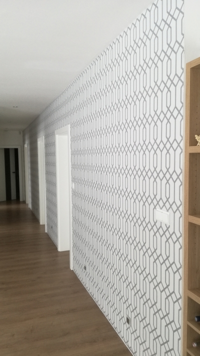 Decorative stencil painting including walls adjustment