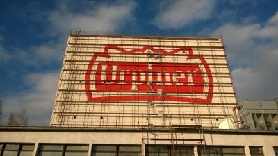 The biggest beer logo painted on the Slovak - Brewery URPINER Banská Bystrica